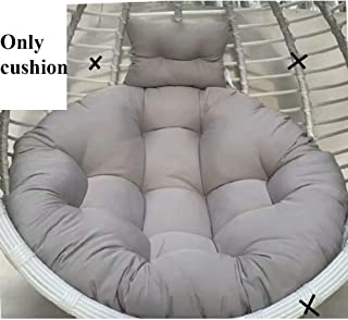 L&T Round Hanging Egg Nest Cushion Without Stand, Padded Basket Cushion Swing Pad Detachable Cover Pillow Hammock Seat Cushion Washable Garden-Grey 100x100cm(39x39inch)