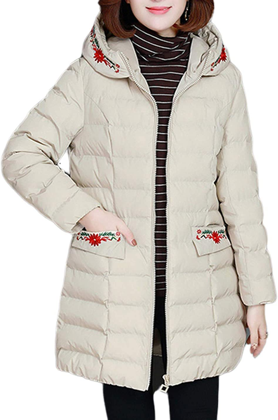 Uaneo Women's Loose Casual Thick Embroidered Hoodie Quilted Padded Puffy Parka Jackets(White-XS)