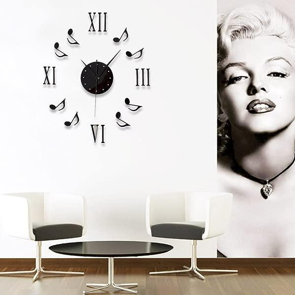 Chinatera Modern Mute DIY Large Wall Clock 3D Sticker Home Office Decor Black Gift