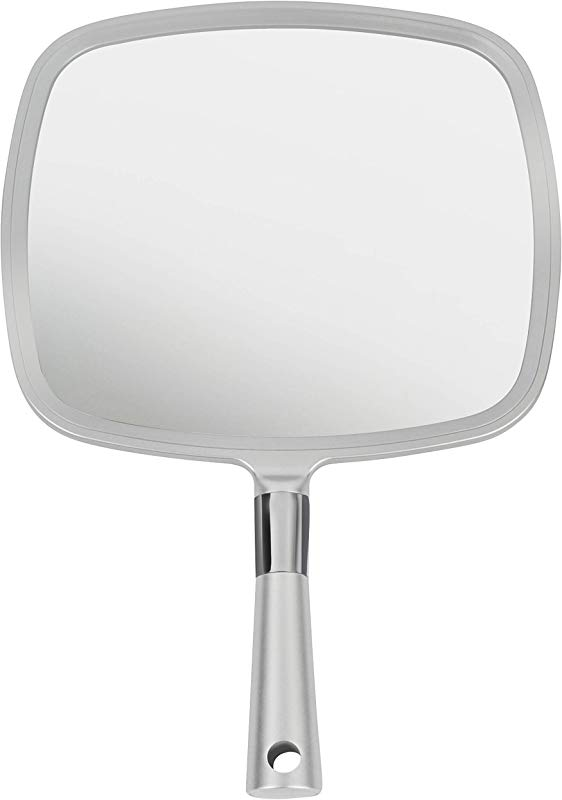 Mirrorvana Large Comfy Hand Held Mirror With Handle Professional Salon Model In Silver 1 Pack