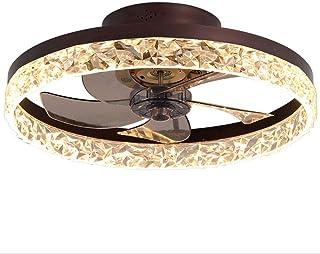 BBZZ Mute Ceiling Fan Luxury K9 Crystal Ceiling Light Modern Quiet Ceiling Fan Lampe réversible à intensité variable avec ...