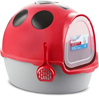 Cat Kitten Toilet Litter Tray Box House - Scoop Portable Carrier with Handle a (Red)
