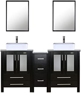 """eclife 60"""" Bathroom Vanity Sink Combo Black W/Side Cabinet Vanity White Ceramic Vessel Sink and Chrome Bathroom Solid Brass Faucet and Pop Up Drain, W/Mirror (T03 2B02)"""
