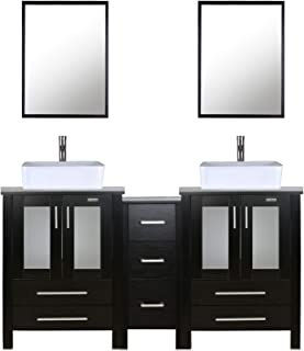 "eclife 60"" Bathroom Vanity Sink Combo Black W/Side Cabinet Vanity White Ceramic Vessel Sink and Chrome Bathroom Solid Brass Faucet and Pop Up Drain, W/Mirror (T03 2B02)"