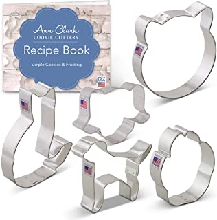 Ann Clark Cookie Cutters 5-Piece Pets Cookie Cutter Set with Recipe Booklet, Cat Face, Dog Face, Paw Print, Cat and Dog