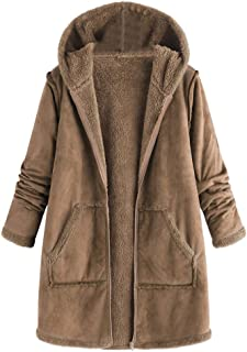 Rosatro Womens Winter Solid Oversize Coats Warm Lattice Hooded with Pockets Outwear Casual Zipper Hoodie Jackets