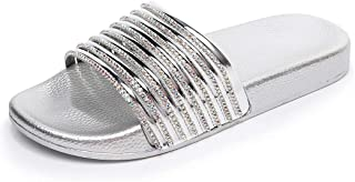 Women Slippers Summer Casual Slip with Soft and Thick (Color : Silver, Size : 39)