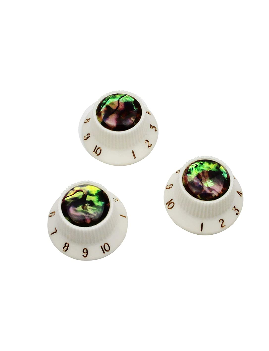 """Guyker 3Pcs Guitar Speed Control Knobs for 6mm (0.24"""") Dia. Shaft Pots - Abalone Top Volume and Tone Buttons Replacement Parts for Precision Electric Guitar (White)"""