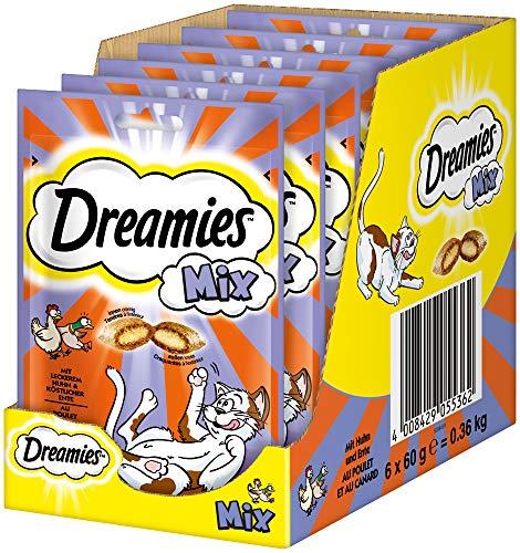 Dreamies Mix Katzensnacks mit Huhn & Ente – Außen knusprig & innen cremig – 6 x 60g