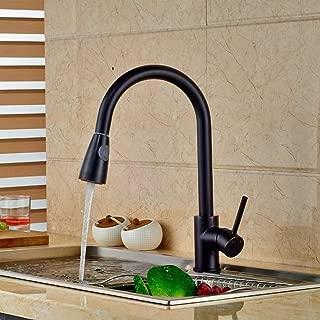 Luxury Pull Out Sprayer Kitchen Faucet Swivel Spout Mixer Sink Mixer Black Brass Bridge Kitchen Sinks Faucet Tap Hot Cold Water