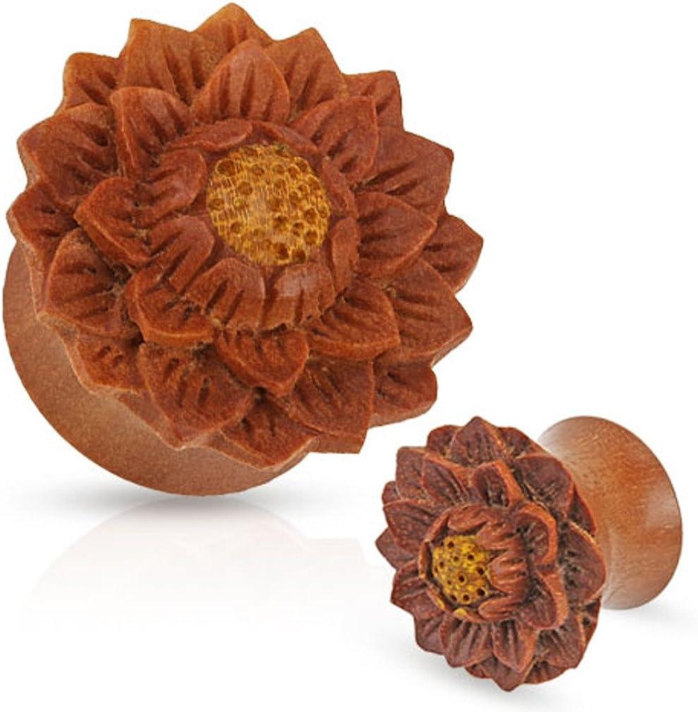 Zaya Body Jewelry Single Organic Jackfruit Lotus Flower Wood Hand Carved Ear Plug Gauge Size 3/4