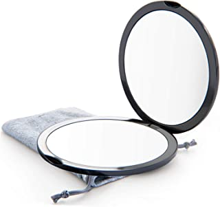 Magnifying Compact Mirror for Purses with 10X Magnification - Black Double Sided Travel Makeup Mirror, 4 Inch Small Pocket...
