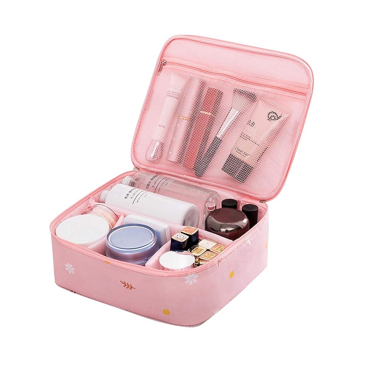 集まるいとこ合計Coolzon化粧ポーチ 防水 機能的 大容量 化粧バッグ 軽量 化粧品収納 メイクボックス 折畳式 可愛い 旅行 出張(ピンク)