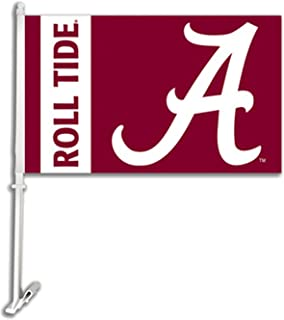 NCAA Alabama Crimson Tide Car Flag Script A Logo with Free Wall Bracket