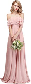 CLOTHKNOW Strapless Chiffon Bridesmaid Dresses Long with Shoulder Ruffles for Women Girls to Wedding Party Gowns