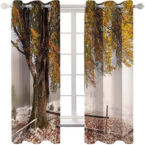 AmDxD 2 paneles de cortinas de poliéster para sala de estar, cortinas de oscurecimiento para dormitorio, cortinas de árbol otoñal, lavables a máquina, amarillas, 250 cm de ancho x 240 cm de largo