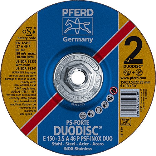 """PFERD 63341 Duodisc Combination Cutting/Grinding Wheel, Type 27, Aluminum Oxide A, 6"""" Diameter x 1/8"""" Thick, 5/8-11"""" Thread, 10200 Max RPM (Pack of 10)"""