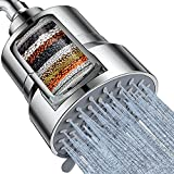 Filtered Shower Head, 3 Modes High Pressure Shower Head with 15 Stage Hard Water Shower Filter Cartridge for Remove Chlorine and Harmful Substances, Chrome