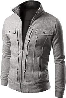 [ワン アンブ] 【在庫処分セール】スタンドカラー ジップ ジャケット 薄手 ライト アウター コットン ショート コート M ~ XL メンズ