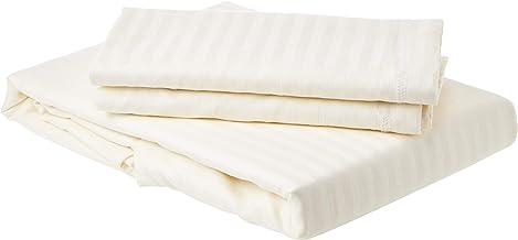 Panache Exports Queen Fitted Bedsheet Set, Ivory, 193 cm x 137 cm + 25 cm, PEFITQUE01
