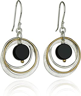 Stera Jewelry 925 Sterling Silver & Gold-Filled Multi Hoops Turquoise or Black Onyx Dangle Earrings