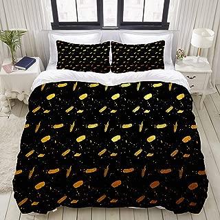 "Mokale Bedding Duvet Cover 3 Piece Set - Golden Graffiti Black Background - Decorative Hotel Dorm Comforter Cover with 2 Pollow Shams - Twin 68""x86"""