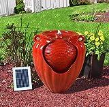 Gardenwize SOLAR RED URN TERRACOTTA CASCADING WATER FEATURE