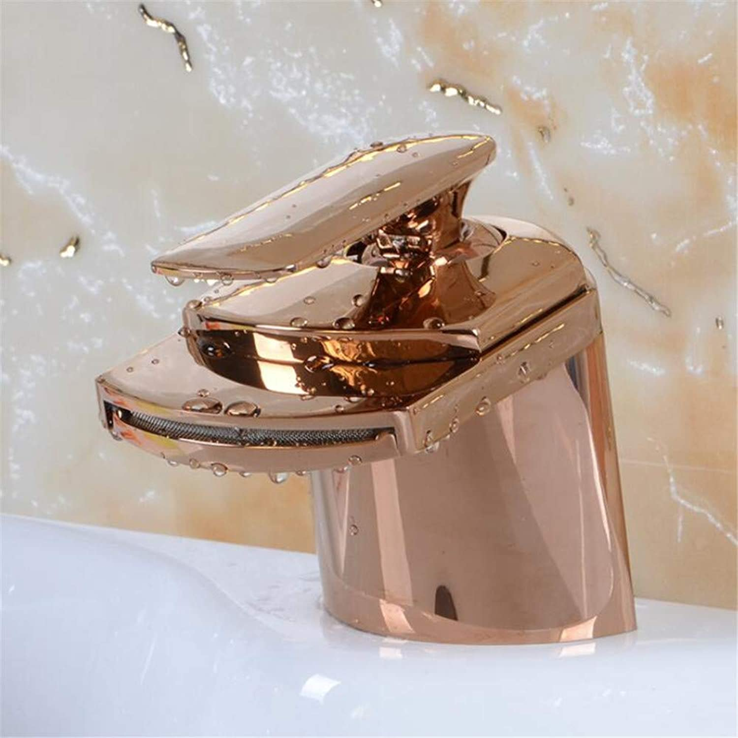 Copper Faucet Bathroom Antique Wide Mouth Faucet Brushed Bathroom Supplies Counter Basin pink gold Faucet
