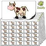 480 x Aufkleber - Kuh (38 x 21 mm). Hochwertige selbstklebende Etiketten mit Tiermotiv von Zooify.