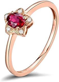 Daesar Anello in Oro Rosa 18K, Anelli Donna Fidanzamento A Forma di Stella con Rubino 0.29ct Anello in Oro Rosa