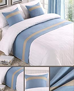 """Mengersi Solid Color Soft No Fading Modern Bed Runner Bedding Scarf Protection for Bedroom Hotel Wedding Room (2 Pillowcases(18""""x18""""), Sky Blue)"""