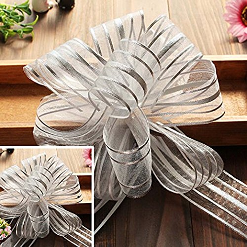 """EOM Set of 8 Wedding Pull Bow Organza Striped Ribbon String with 35"""" Long Tulle Tails Wedding Party Bridal Giftwrap Wrapping Bows ,Gift Bows, Christmas Bows Assorted Colors (Set of 10 Silver Color)"""