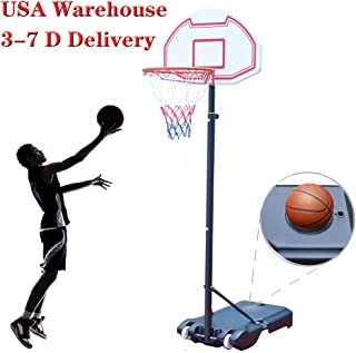 Sibosen Portable Height-Adjustable Basketball Hoop System Stand w/Wheels, 29 Inch Backboard, 6.5-8 ft Basketball Goals Indoor/Outdoor for Kids Youth (USA Warehouse)