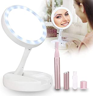 Makeup Mirror 10x Magnification Kit - Portable Adjustable 10x Makeup Mirror Light and Electric Eyebrow Trimmer for Travel and Home Use
