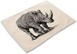ダイニングテーブルボウルエレファント・キッチンティーパーティーの装飾アニマルプリントマットパッド用コアラタイガーキャットドリンクコースターセットのプレースマット (色 : Beer print 05, サイズ : 42cm x 32cm)