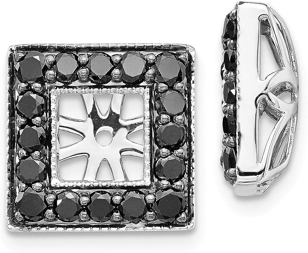 Solid 14K White Gold Black Diamond Square Jacket Earrings 12mm (.88 cttw.)