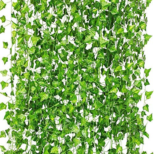 WANWE 36Pcs Artificial Plants of Vine False Flowers Ivy Hanging Garland for the Wedding Party Home Bar Garden Wall Decoratio