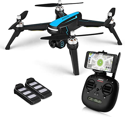 $209 Get Drone with Camera GPS Drone HELIFAR B3 FPV RC Drone with 1080P HD Camera Live Video, Brushless Motor, Follow Me, 5G WiFi Transmission 2 Batteries Blue