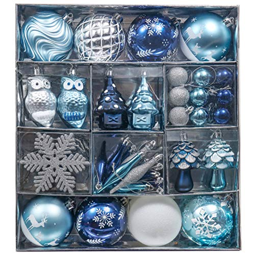 Valery Madelyn 80ct Winter Wished Christmas Ball Ornaments Blue Silver Decoration, Shatterproof Christmas Tree Ornaments Assorted Bulk