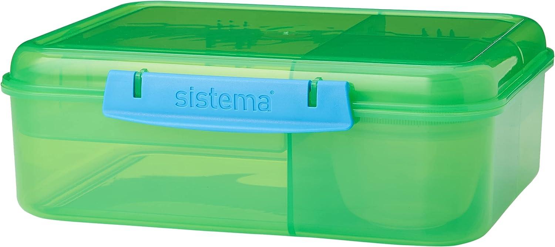 Sistema–Tartera Bento caja de almuerzo con frutas/yogur olla, colores surtidos, 1.65L