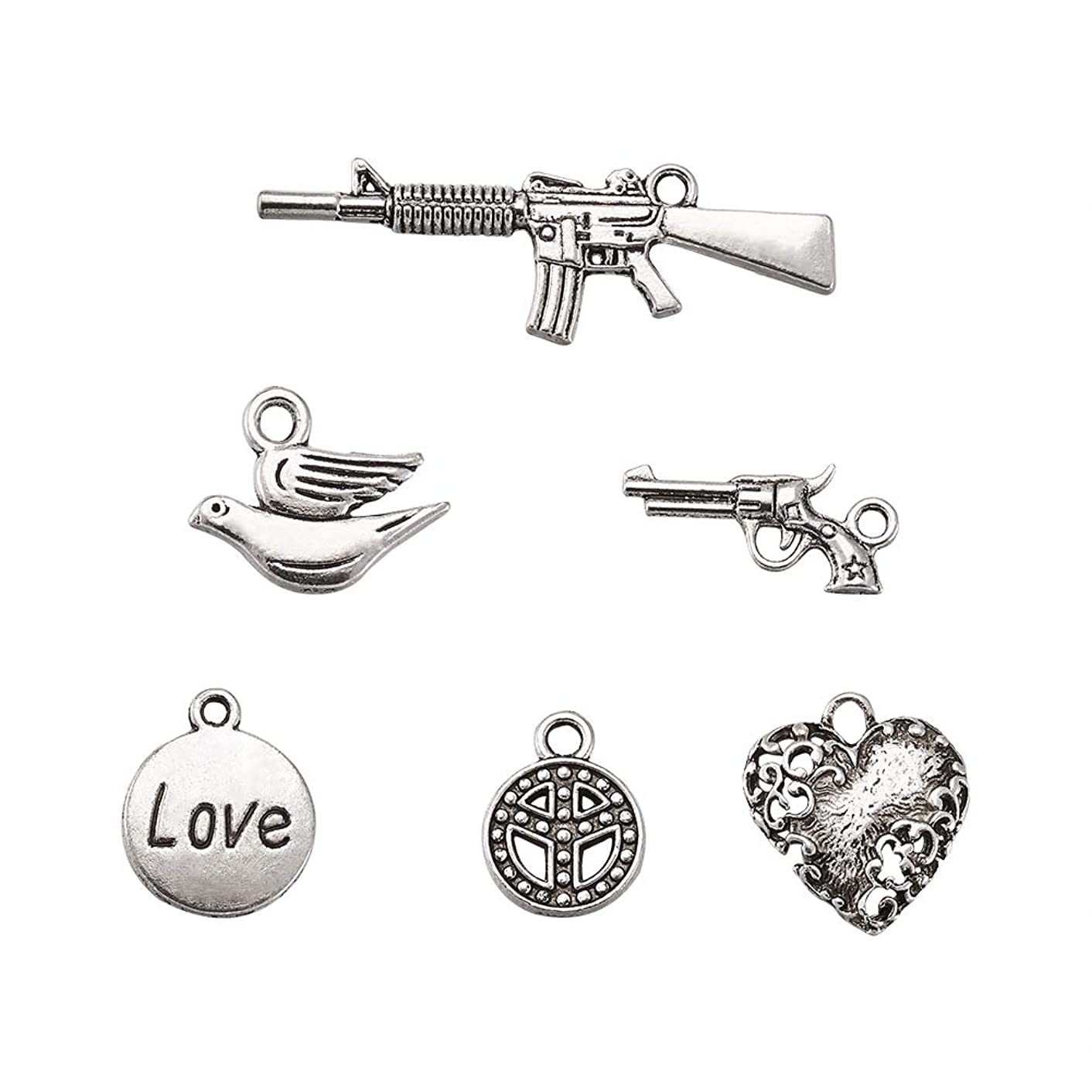 Pandahall 5sets 6pcs/Set Mixed Tibetan Style Antique Silver Alloy Pendants Necklace Charms Jewelry Makings Findings Heart & Peace Sign & Love & Pigeon W&P Theme