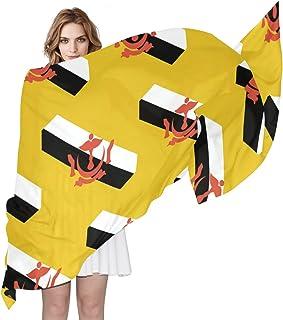 "Brunei Darussalam Flag Women`s Silky Scarf Shawl Wrap for Lady, 70.8""Lx35.4""W"
