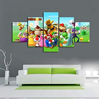 Artwap 5 Piece Painting The Picture for Home Decoration Artwork for Wall Decor Super Mario Video Game Poster (Size3)