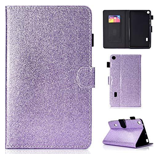 Artfeel Glitter Coque pour Huawei Mediapad T3 7.0,Bling Scintillant Cuir Portefeuille Support à Rabat Étui Mince Léger Flip Magnétique Housse avec Porte-Carte,Violet