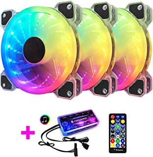 3 Pack RGB Case Fans,120mm Silent Computer Cooling PC Case Fan Addressable RGB Color Changing LED Fan with Remote Control,...