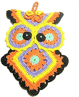 Agarradera de color de ganchillo en forma de búho - Tamaño: 14 cm x 20 cm H - Handmade - ITALY
