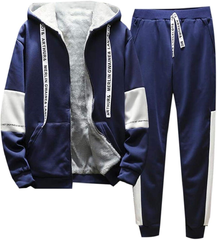 YYear Men's 2 Pieces Linen Zipper Hooded Jacket and Gym Pants Sweatsuit Set
