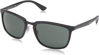 Ray-Ban Men's RB4303 Rectangular Sunglasses, Matte Black/Green, 57 mm