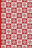 Christmas 9 Red and White Snowflakes in Squares: Wide Ruled Notebook