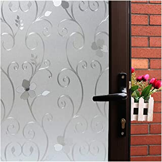 3D Flower Privacy Window Film,Frosted Decorative Glass Door Film,No Adhesive Stained Glass Window Decor,Static Cling Heat Control Anti UV for Home and Office,35 inches by 78.7 inches